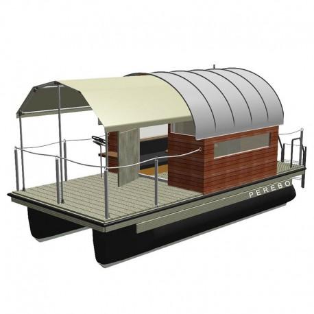 Mobil pontonhusbåt katamaran