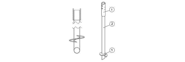 250mm vingdiameter Ø 76,1