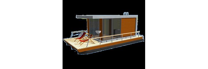 Husbåt på pontoner